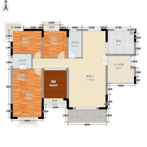 星辰花园4室1厅2卫1厨164.00㎡户型图