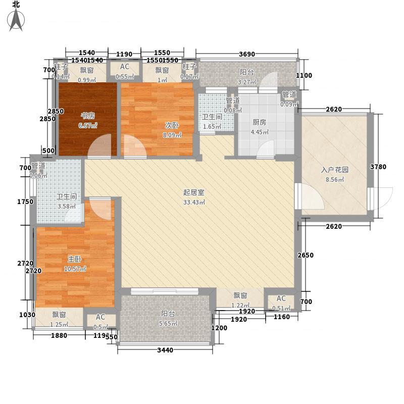 旭涛华庭3.00㎡3幢、4幢标准层B2户型3室2厅2卫1厨