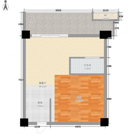 三亚湾红树林度假世界1厅1卫0厨82.00㎡户型图