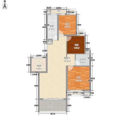 西山汇景3室1厅1卫1厨110.00㎡户型图