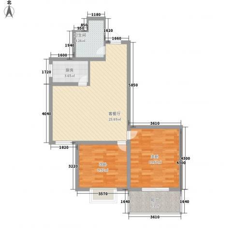 新乐城2室1厅1卫1厨89.00㎡户型图