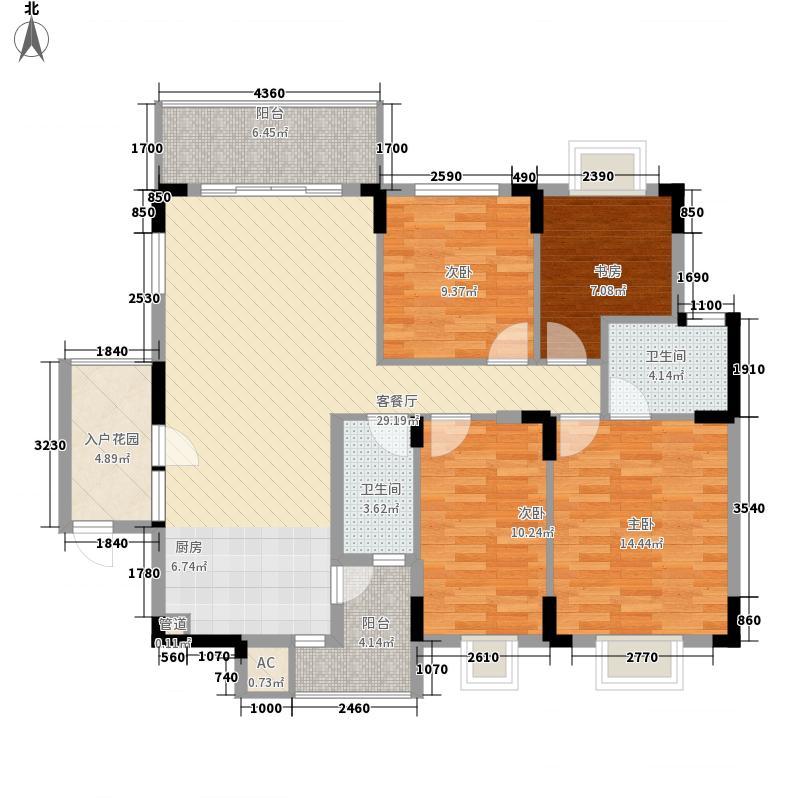 半岛东岸143.00㎡融园4房户型4室2厅2卫1厨