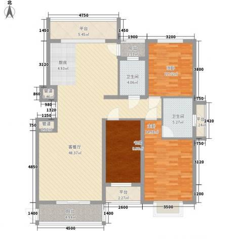 亿锋现代城3室1厅2卫0厨140.00㎡户型图