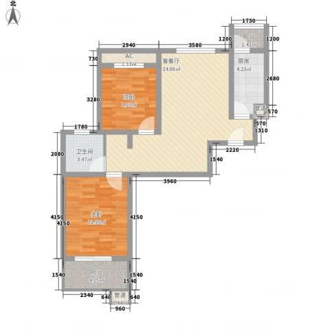 武夷绿洲2室1厅1卫1厨80.00㎡户型图
