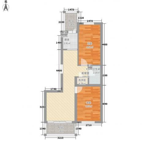 日出印象茗苑2室0厅1卫1厨69.00㎡户型图