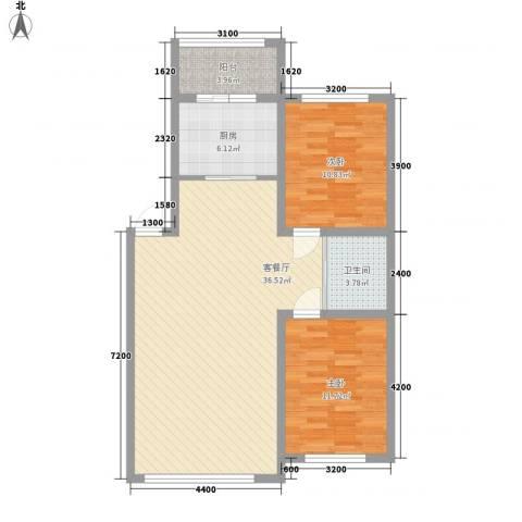 万龙第五城2室1厅1卫1厨94.00㎡户型图
