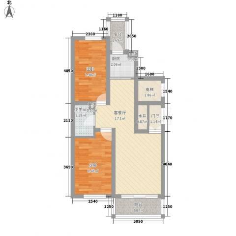 日出印象茗苑2室1厅1卫1厨72.00㎡户型图