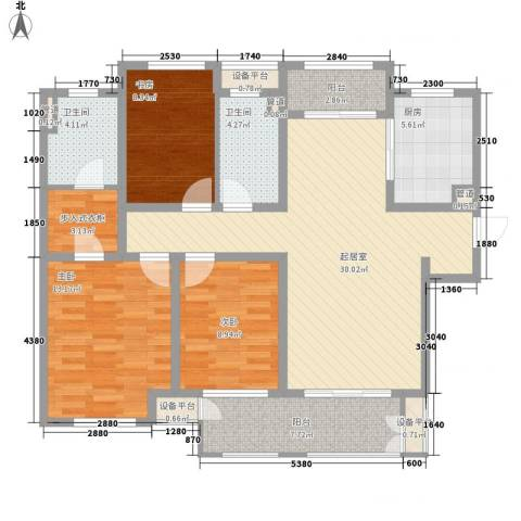 新城公馆3室0厅2卫1厨132.00㎡户型图