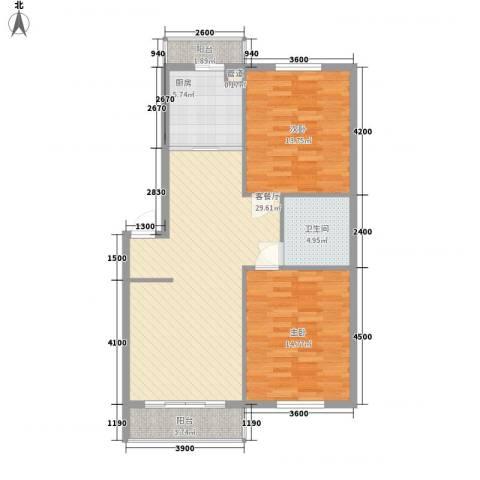 美印雅苑2室1厅1卫1厨92.00㎡户型图