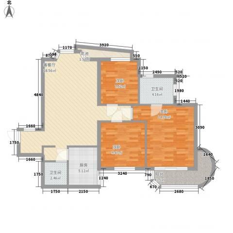 艺水芳园3室1厅2卫1厨78.38㎡户型图