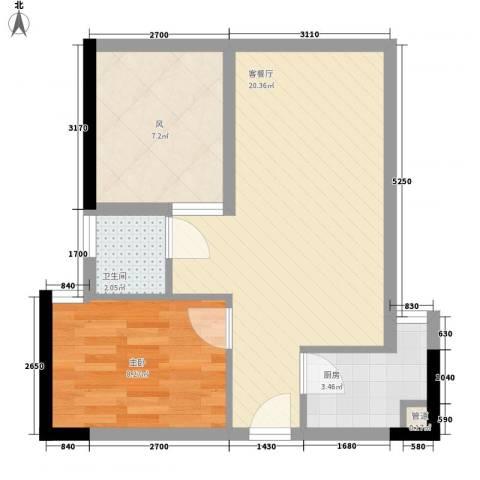 城市阳光花园1室1厅1卫1厨48.00㎡户型图