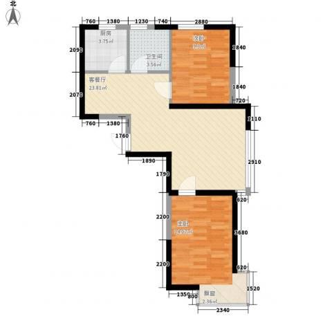 溪湖芳庭2室1厅1卫1厨73.00㎡户型图