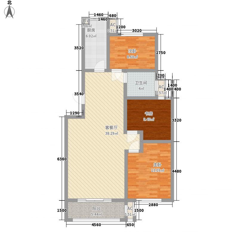 尚美苑1.44㎡2#3#楼标准层B户型3室2厅1卫1厨