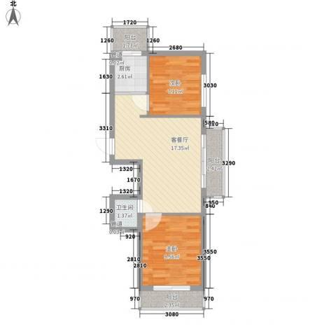 美印雅苑2室1厅1卫1厨65.00㎡户型图
