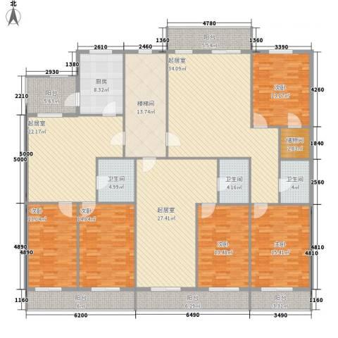 利海公寓5室0厅3卫1厨218.44㎡户型图