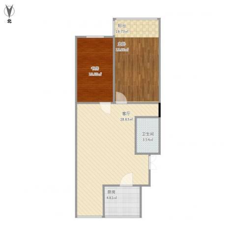 华庆里1室1厅1卫1厨86.00㎡户型图
