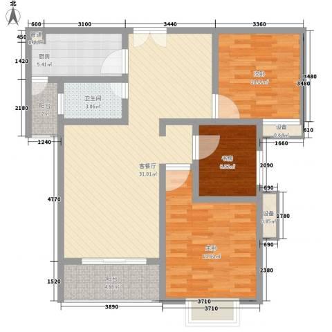 城市丽都花园3室1厅1卫1厨91.55㎡户型图