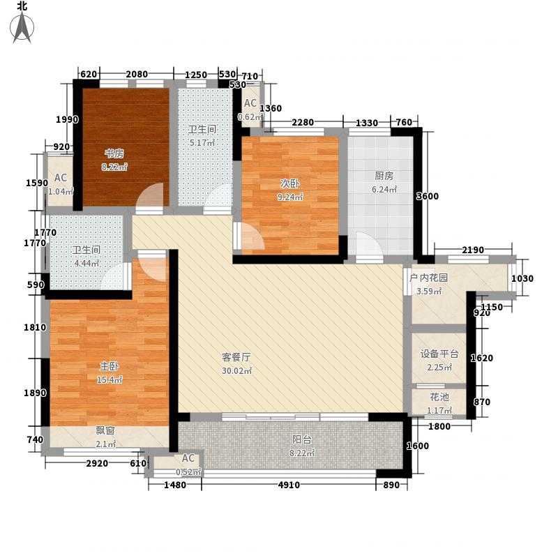湘银星城116.80㎡二期26栋E1~33层户型3室2厅2卫2厨