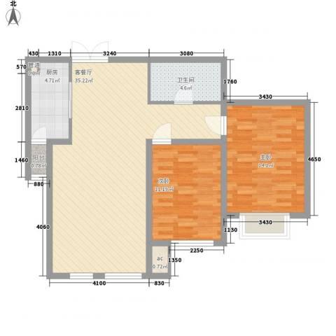 佳泰帝景城2室1厅1卫1厨100.00㎡户型图