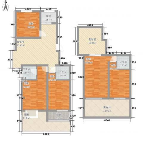 帝都国际城5室1厅3卫1厨194.00㎡户型图