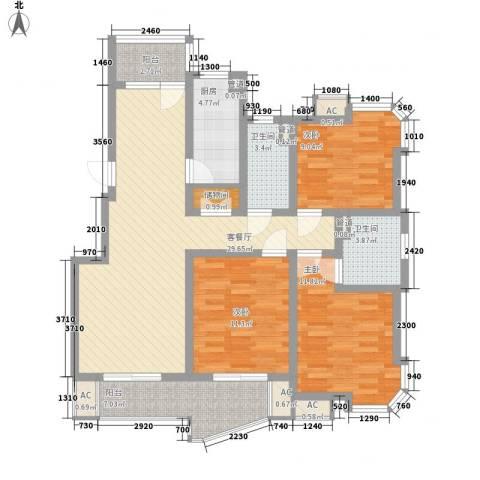 盛逸公寓3室1厅2卫1厨128.00㎡户型图