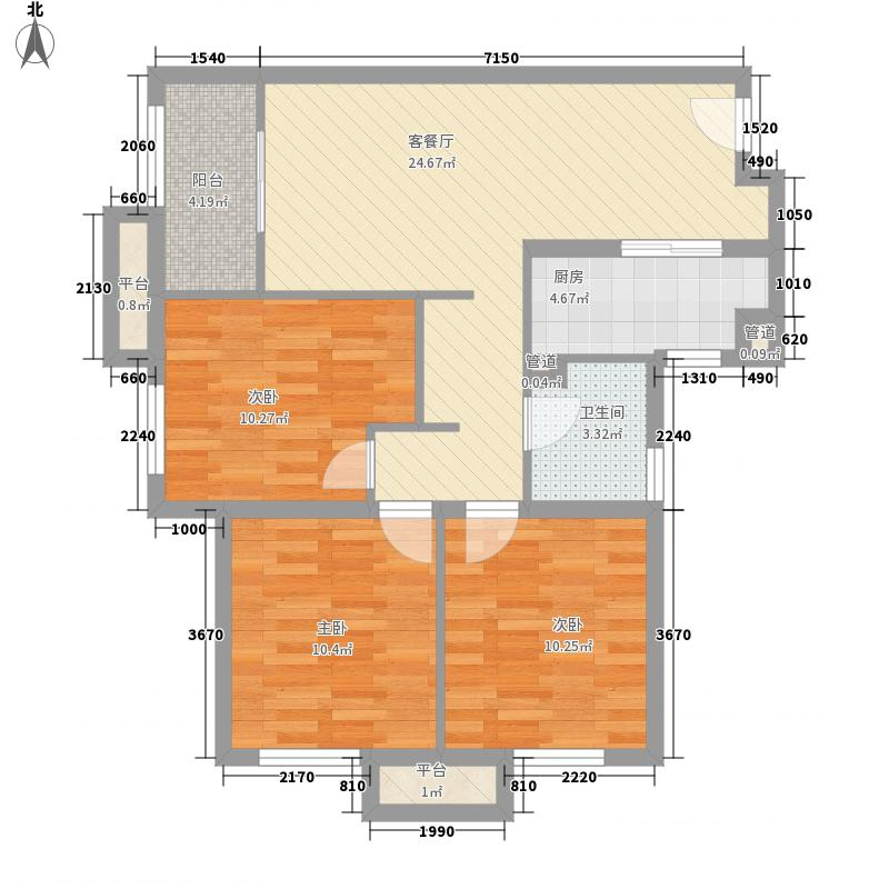 中国铁建兴盛嘉苑11.00㎡东区12号楼2单元B-3户型3室2厅1卫1厨