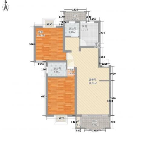 冠生园东方佳苑2室1厅2卫1厨103.00㎡户型图