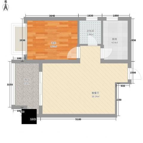 云鼎公馆1室1厅1卫1厨60.00㎡户型图