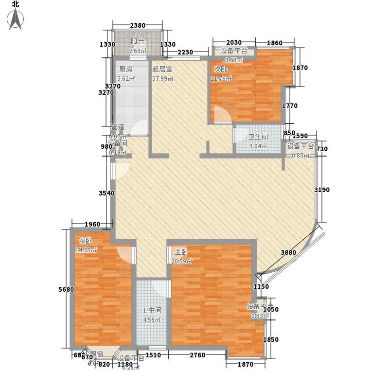 瑞丽江畔152.83㎡4号楼户型3室2厅2卫1厨
