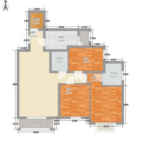 艺水芳园3室1厅2卫1厨120.00㎡户型图
