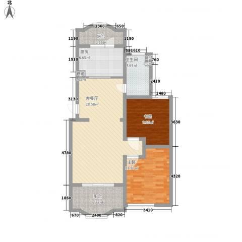 虹康花苑二期2室1厅1卫1厨105.00㎡户型图