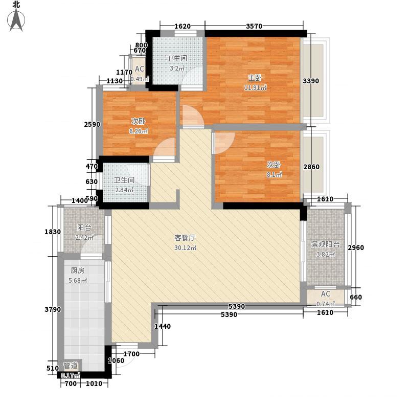 和泓江山国际一期4、5号楼标准层E户型