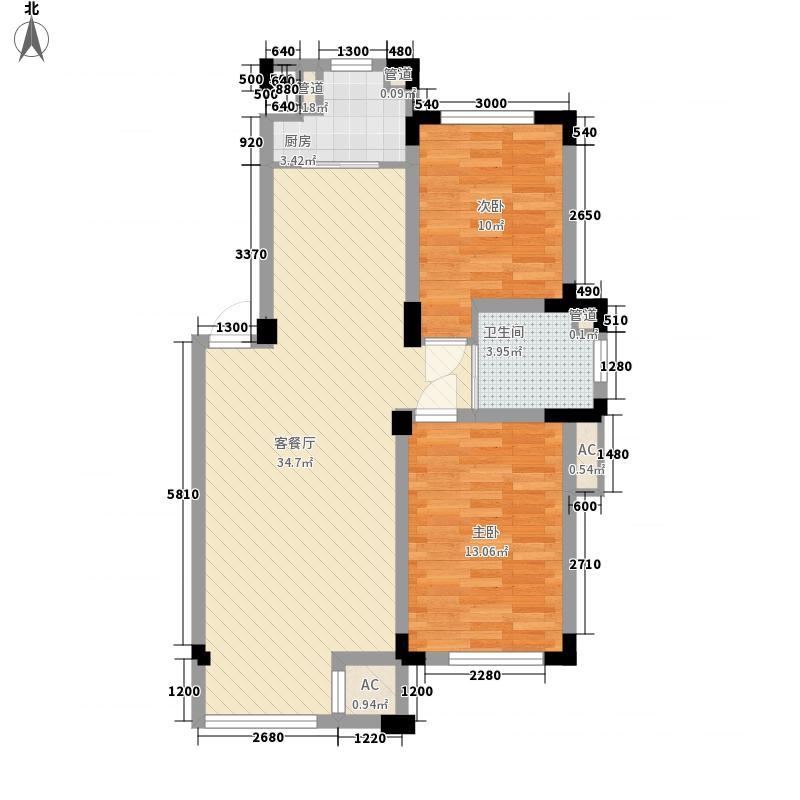 金越逸墅蓝湾别墅87.67㎡77#楼2/3/4楼F1户型2室2厅1卫