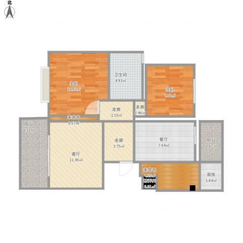 新江湾中凯城市之光2室2厅1卫1厨91.00㎡户型图