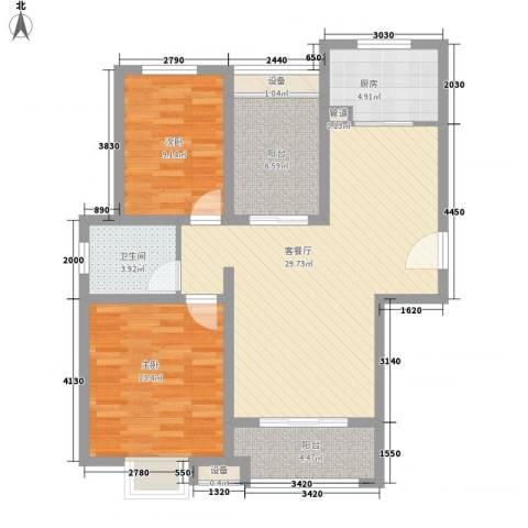 晟地润园2室1厅1卫1厨107.00㎡户型图