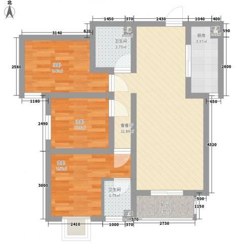 马景园3室1厅2卫1厨80.00㎡户型图
