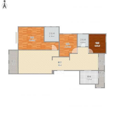 金鼎湾今朝天下3室1厅2卫1厨163.00㎡户型图