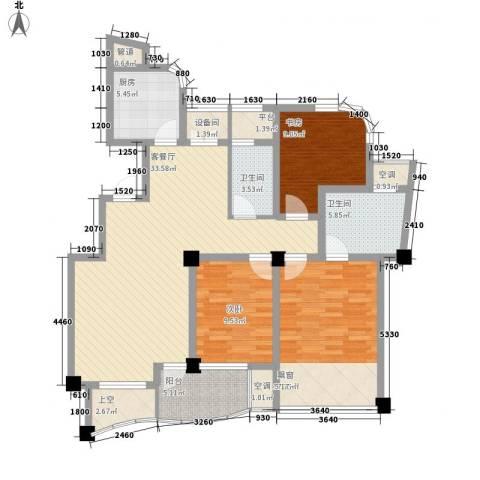 金世纪铭城豪庭3室1厅2卫1厨121.00㎡户型图