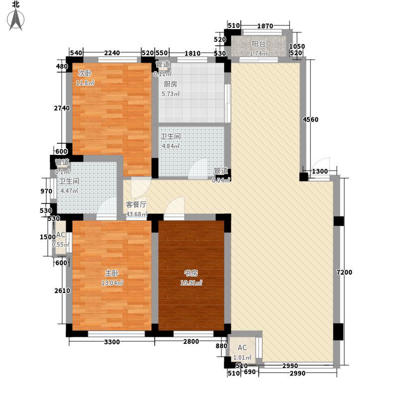 金越逸墅蓝湾别墅125.70㎡76#2/3/4层E1户型3室2厅2卫