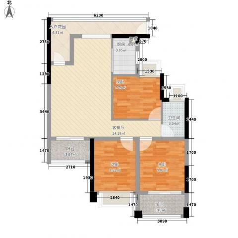 元邦明月金岸3室1厅1卫1厨101.00㎡户型图