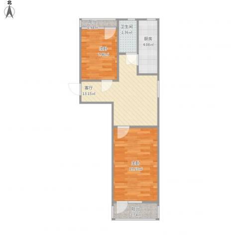 石佛营西里2室1厅1卫1厨61.00㎡户型图