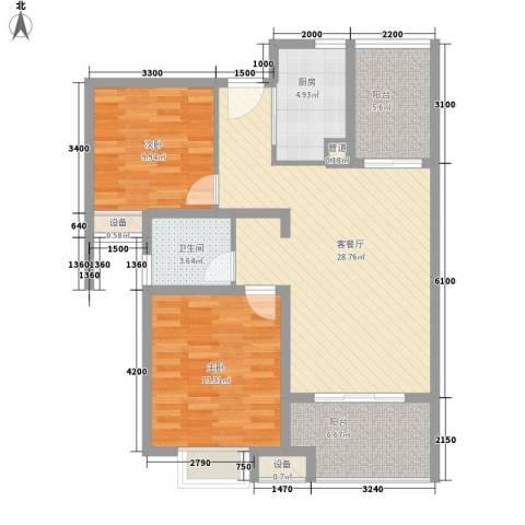 晟地润园2室1厅1卫1厨94.00㎡户型图