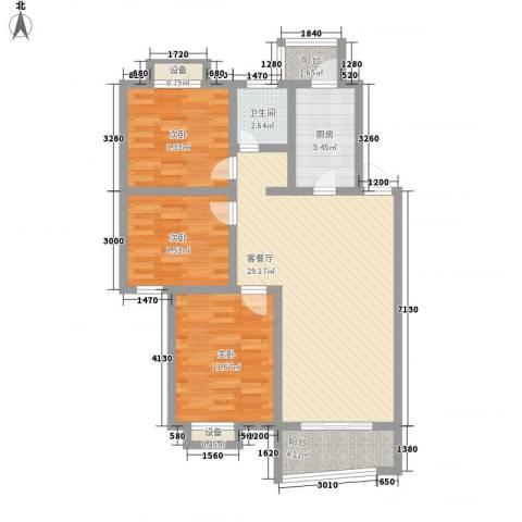 碧波苑3室1厅1卫1厨108.00㎡户型图