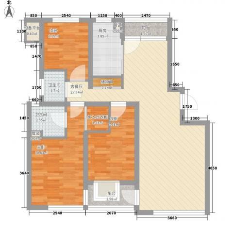 马景园3室1厅2卫1厨100.00㎡户型图