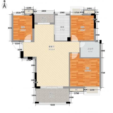 学院路房管局宿舍3室1厅1卫1厨121.00㎡户型图