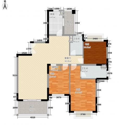 仁恒星园3室1厅2卫1厨160.00㎡户型图