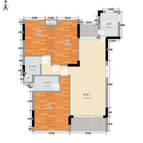 金地格林小城二期3室1厅2卫1厨119.00㎡户型图