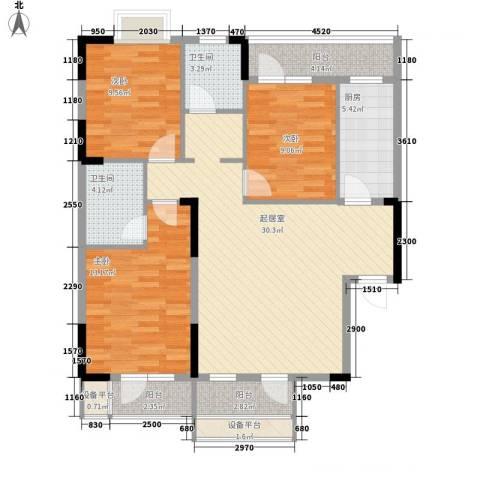 中御公馆3室0厅2卫1厨105.00㎡户型图