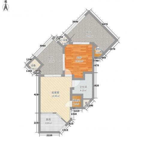 国信龙沐湾1室0厅1卫1厨66.00㎡户型图