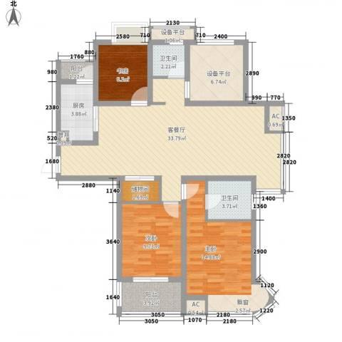 紫晶广场3室1厅2卫1厨132.00㎡户型图
